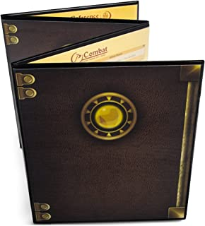 D/&D Wood Dungeon Masters DM Screen Laser Carved Dragon and Flamel Cross Decorated with Antique Bronze Rivets 3-Panel with Metal Clips Tabletop RPG Accessory for Game Master