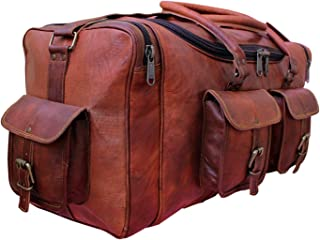 Handolederco. 24 Inch Square Duffel Travel Gym Sports Overnight Weekend Leather Bag