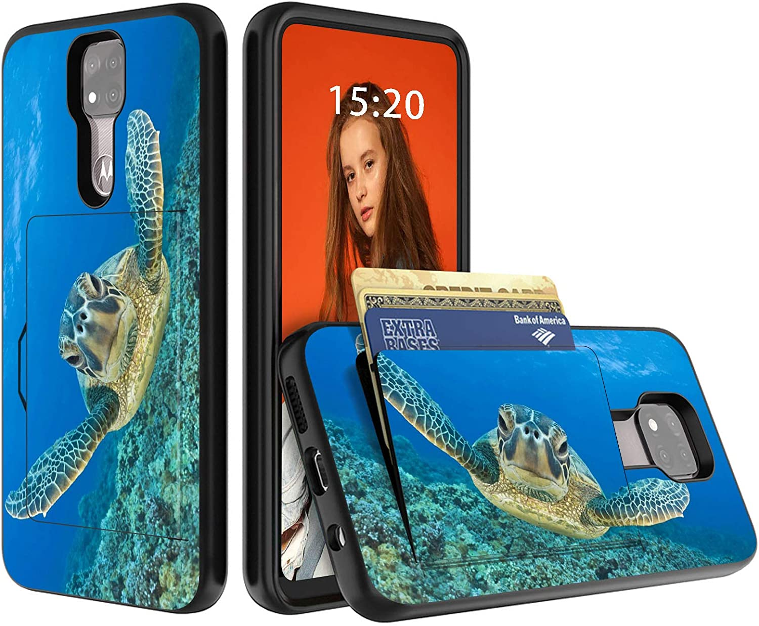 for Moto G Power 2021 Case, for Motorola G Power Wallet Case, Dikoer Heavy Duty Hybrid Credit Card Holder ID Slot Hard PC Shockproof Silicone Protection Dual Layer Phone Cases, Baby Sea Turtle
