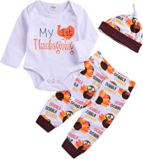 Thanksgiving Baby Outfits Newborn Boy Girl My First Thanksgiving Letter Print Romper Turkey Print Pant Hat Clothes Set