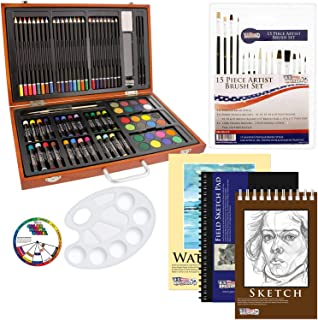US Art Supply 82 Piece Deluxe Art Creativity Set in Wooden Case with Bonus 20 Additional..