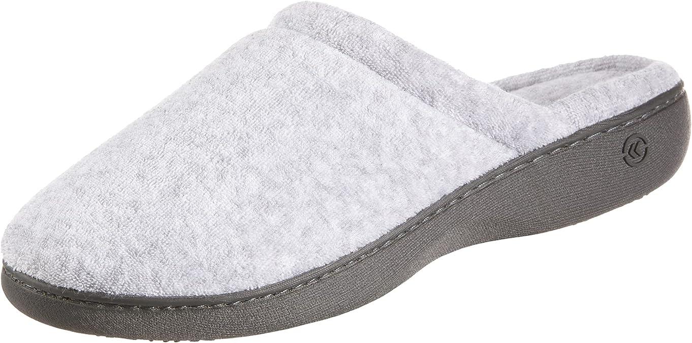isotoner Women's TerrySlip On Clog Slipper with Memory Foam for Indoor/Outdoor Comfort, Heather Grey Rounded, 7.5-8