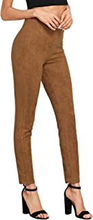 Women's High Waisted Soft Slim Casual Pants Solid Suede Leggings