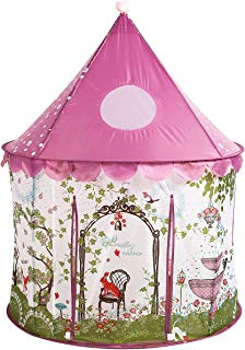 UTEX Girls Princess Fairy Tale Castle Play Tent with Pink Prairie Design Foldable for Indoor & Outdoor Use, with Zipper Storage Case