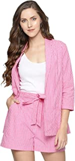 BESIVA Women's Gingham Shorts and Blazer Co-Ord