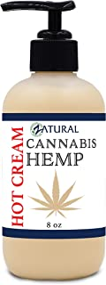 Hemp Hot Cream-Hemp Oil-Organic Hot Cream-Anti Cellulite-Muscle Cream-Pain Support (8 Ounce Pump)