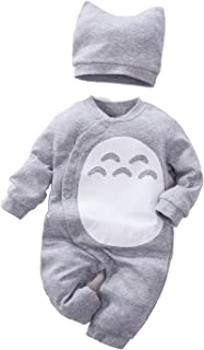 Unisex Baby Totoro Long Sleeve Romper with Hat 2-PC Set