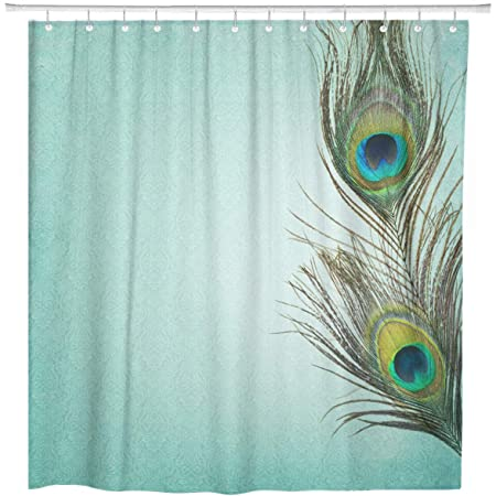 Artsocket Shower Curtain Brown Pattern Vintage Peacock Feathers Painting Old Drawing Abstract Home Bathroom Decor Polyester Fabric Waterproof 60 X 72 Inches Set With Hooks Home Kitchen
