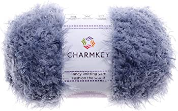 Charmkey Smooth Fur Yarn Super Soft Feeling 5 Bulky Fluffy Solid Colors Knitting Craft Polyester Fuzzy Nylon Yarn for Sweater Shawl Scarf Animal Toys and More, 1 Skein, 3.35 Ounce (Silver Gray)