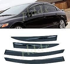PLDDE 4 pcs For 06-11 Honda Civic 4-Door Sedan JDM 3D Wavy MU Style Front+Rear Sun/Rain Guard Outside Mount Window Visors