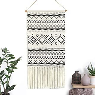 "Dremisland Macrame Woven Wall Hanging Tapestry- Boho Chic Bohemian Home Decor Geometric Art Decor Boho Backdrop - Beautiful Apartment Dorm Room Door Decoration, 17.7"" W x 32"" L (Black Geometric)"