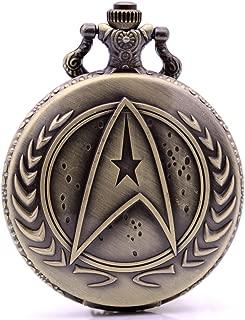 KDJ STORE Movie Star Trek Quartz Pocket Watch Analog Pendant Necklace Chain for Men Women