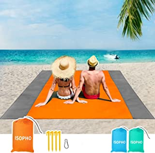 ISOPHO Beach Blanket, 79''�83'' Beach Blanket Waterproof Sandproof for 3-7 Adults, Oversized Lightweight Beach Mat, Portable Picnic Blankets, Sand Proof Mat for Travel, Camping, Hiking