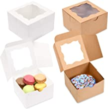 """Surf City Supplies {Pack of 50} Brown Bakery Boxes with Window 4x4x2.5"""" Cute Cardboard Gift Packaging Containers for Cookies, Cupcakes, Small Desserts, Pastry, Wedding Cake, Baby Showers, Donuts, Treats, Party Favors!"""