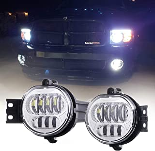 Z-OFFROAD 2pcs 63W LED Fog Lights Lamps Replacement for 2002-2008 Dodge Ram 1500 2003-2009 Ram 2500 3500 2004-2006 Durango Truck, Driver and Passenger Side - Chrome