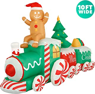 Holidayana 10 ft Inflatable Christmas Train Outdoor Decoration, Lighted Blow Up Inflatable Yard Decorations with Fan and Stakes