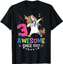 Girls 3rd 3yr Birthday Unicorn Dabbing Awesome Since 2017 T-Shirt