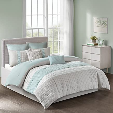 510 Design Tinsley 8 Piece Ultra Soft Quilted Comforter Set Bedding Queen Size Seafoam/Grey