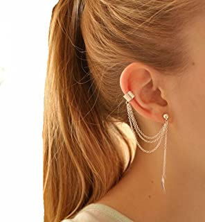 A Piece of Gold Color Tassel Pierced Ear Cuff Screw Clip Earrings Studs Earcuff