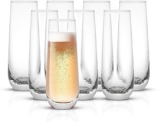 JoyJolt Milo Stemless Champagne Flutes Set of 8 Crystal Glasses. 9.4oz Champagne Glasses. Prosecco Wine Flute, Mimosa Glas...