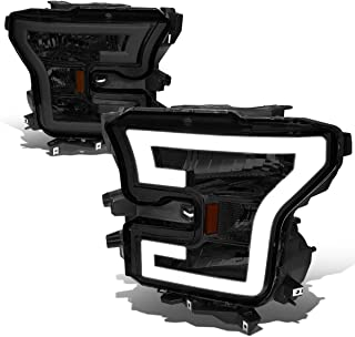 For Ford F150 Pair 3D LED DRL Tube Running Strip Headlight/Lamps (Smoked/Amber)