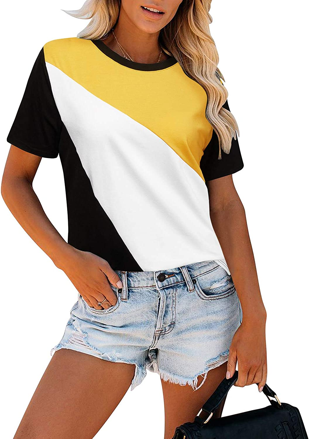 KILIG Women's Long Sleeve Casual T-Shirts Triple Color Block Tee Patchwork Round Neck Loose Fits Tunic Tops Blouses