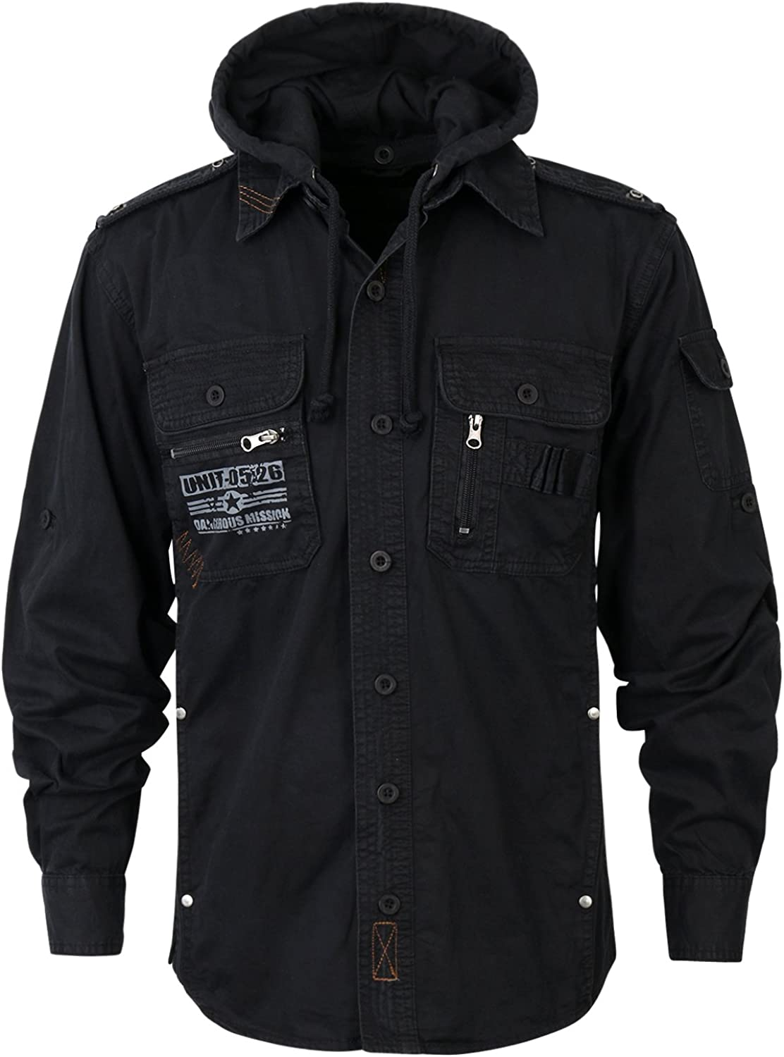 Finally resale start ililily Military Vintage Hood Slim-fit Roll Inventory cleanup selling sale Tactical Up Shirt Ja