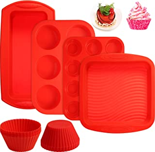 16 Pieces Silicone Bakeware Pan Set, Include 12 Pieces Cupcake Liners Muffin Cupcake Cups, 6 Cavity Muffin Pan Mould, 12 C...