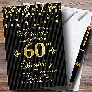 Gold Confetti Black Striped 60th Personalized Birthday Party Invitations