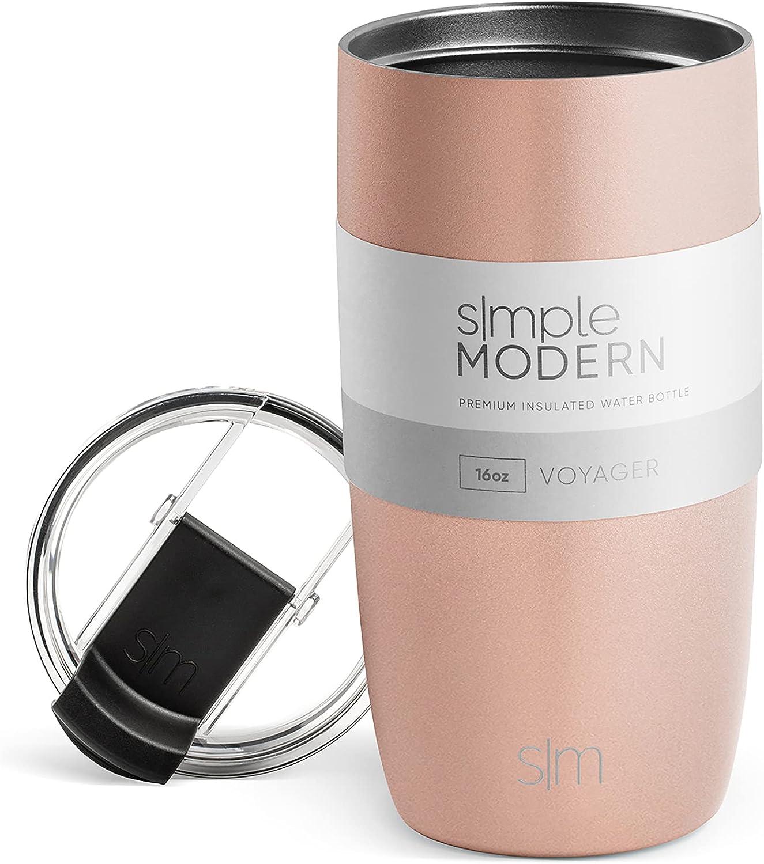 Simple Modern 470 ml (16oz) Voyager Termo Taza con Paja Reutilizable - Vaso Termico de Viaje Café Termica para Llevar Acero Inoxidable Botella de Agua -Oro Rosa