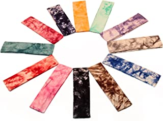 Yeshan Set of 12pcs Non slip Cotton Lycra Tie Dye Stretch Moisture Wicking Elastic Sports Headband/Head wrap/Yoga Headband/Head Sarf,Mix colors