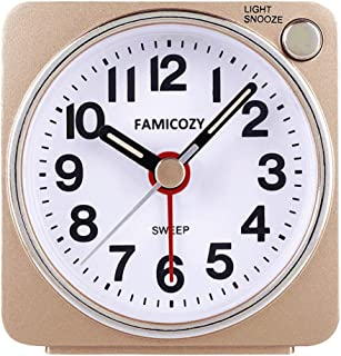 FAMICOZY Small Lightweight Travel Alarm Clock, Silent Non Ticking Analog Alarm Clock with Snooze and Light,Sound Crescendo,Easy to Read,Mini Quartz Alarm Clock,Battery Operated(Gold)