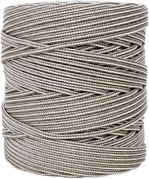 Cofan 08101101 Bobina de cordón trenzado con polipropileno, Blanco y marrón, 5 mm x 200 m