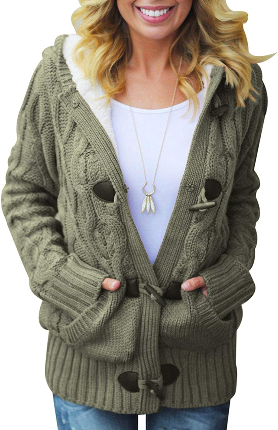 CILKOO Women Hooded Knit Cardigans Button Cable Sweater Coat Outwear Pockets(SXXL)