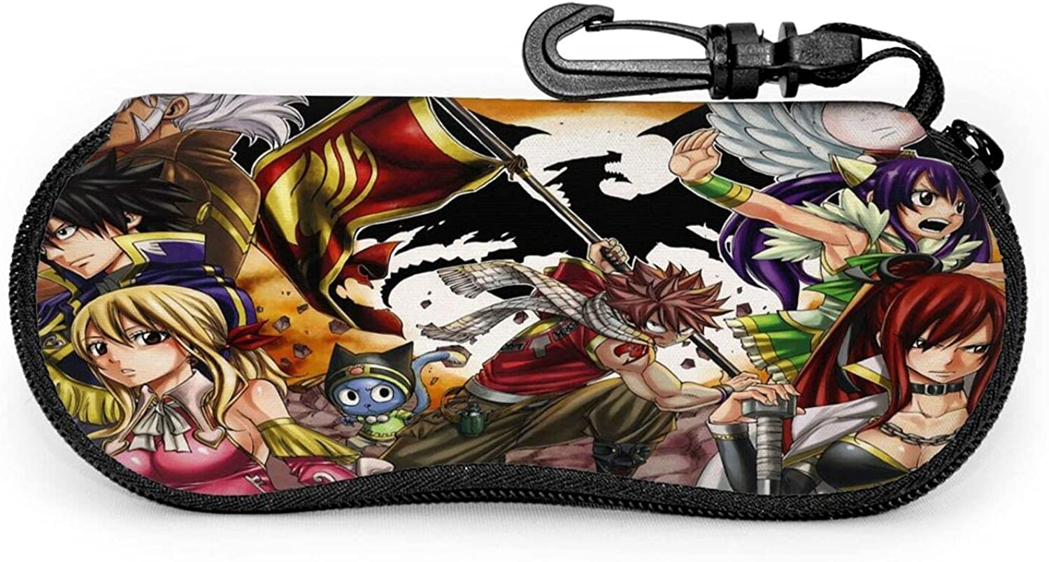 Fairy Tail Eyeglass Case With Carabiner Portable Travel Zipper Sunglasses Case Glasses Bag Guard Set