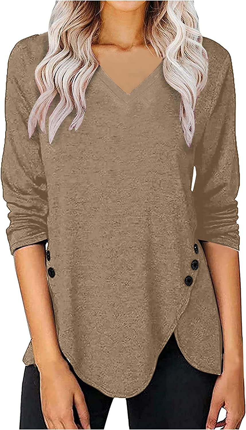 Womens Tops At the price of surprise Ranking TOP3 and Blouses Long Sleeve Neck Solid Color V Long-Sle