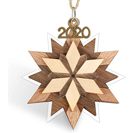 Creawoo Snowflake Keepsake Christmas Ornament 2020 Year Dated Decorative Hanging Pendant 3 5 Holiday Handmade Artwork Wood And Acrylic Home Kitchen
