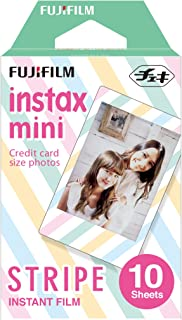 Instax Mini Stripe 10pk Film Suitable for Instax Mini Cameras Including 7S,25, 50S, 8, 70 & 90, Also Share Printer SP-2
