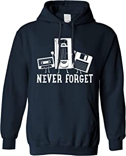 Retro Hoodie Never Forget VHS and Floppy Discs Hooded Jumper