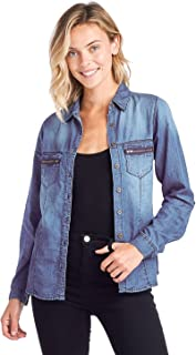 ladies denim shirt outfits
