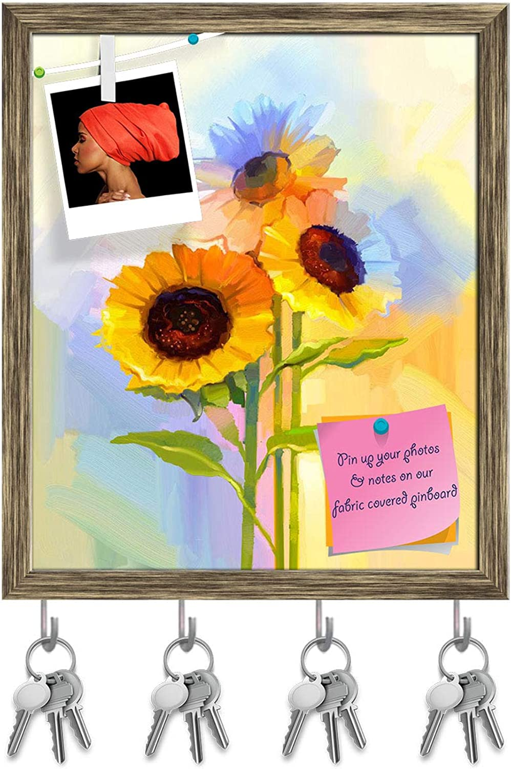 Artzfolio Yellow Sunflowers with Green Leaves Key Holder Hooks   Notice Pin Board   Antique golden Frame 16 X 19Inch