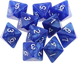 Jili Online 10pcs 8 Sided Dice D8 Polyhedral Dice for Dungeons and Dragons Roley playing Games Dice Gift Blue