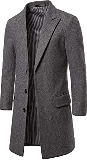 KYC-Bilcesa Men Solid Color Mid Length Single Breasted Fall Winter Wool-Blend Outerwear Long Pea Coat Jacket