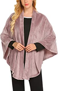Ekouaer Flannel Faux Poncho for Women Lightweigh Blanket Warm TV Shawl Winter Coat Sweater Cape