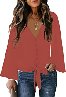 luvamia Women's Button Down Blouse V Neck Tie Knot Summer Tops Long Sleeve Shirt