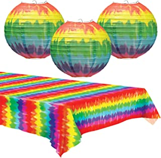 Tie Dye Paper Lanterns & Table Cover Set - Party Decorations for 60's or Hippie Theme