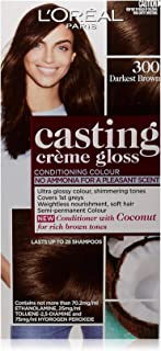 L'Oréal Paris Casting Crème Gloss Semi-Permanent Hair Colour - 300 Darkest Brown (Ammonia Free)