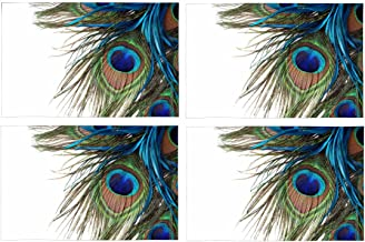 InterestPrint Beautiful Exotic Peacock Feathers Placemat Table Mats Set of 4, Heat Resistant Place Mat for Dining Table Restaurant Home Kitchen Decor 12x18
