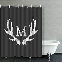 IrYuee Custom Monogram Deer Antlers Shower Curtain 66x72 inches