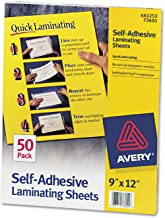 Avery 73601 Self-Adhesive Laminating Sheets, 9-Inch x12-Inch, 50/BX, Clear